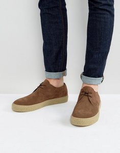 Read more about Asos lace up derby shoes in brown suede with gum sole - brown