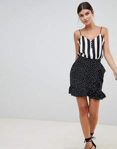 Read more about Prettylittlething polka dot frill hem wrap skirt - black