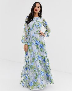 Read more about Asos edition embroidered maxi dress with open back