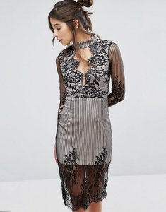 Read more about Love triangle mesh long sleeve lace overlay dress with choker neck - black