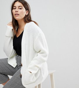 Read more about Asos curve knitted cardigan in oversized rib with buttons - cream