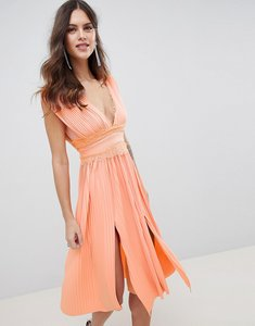 Read more about Asos design premium lace insert pleated midi dress - papaya