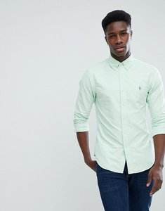 Read more about Polo ralph lauren slim fit button down collar oxford shirt with multi polo player logo in light gree
