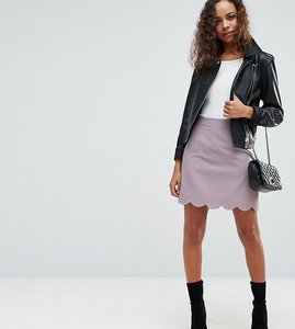 Read more about Asos petite tailored a-line mini skirt with scallop hem - grey lilac
