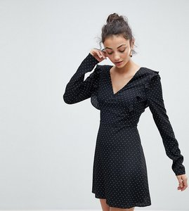 Read more about Fashion union tall tea dress with tie back in spot print - black