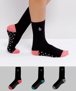 Read more about Penguin 3 pack black ankle sock with multi coloured triangle - black