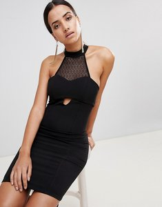Read more about Love high neck lace panel dress - black