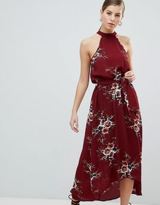 Read more about Ax paris high neck belted floral maxi dress - rust