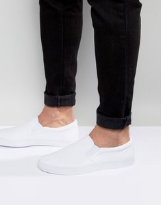 Read more about Asos slip on plimsolls in white canvas - white