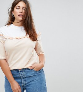 Read more about Asos curve t-shirt with contrast ruffle stripe - white nude