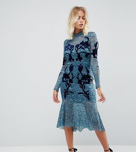 Read more about Hope ivy long sleeve lace dress with velvet applique detail - teal