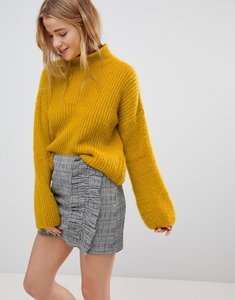 Read more about Nobody s child high neck jumper in fluffy knit - mustard yellow