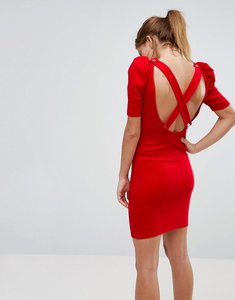 Read more about Asos mini bodycon dress in premium rib with shoulder detail - red