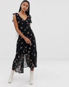 Read more about Wild honey midi dress with frill detail in floral