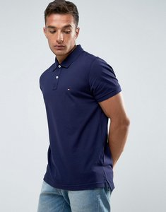 Read more about Tommy hilfiger luxury pique polo tipped slim fit in blue - 492 maritime