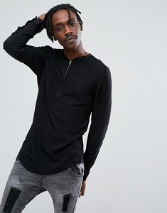 Read more about Asos regular fit longline overhead shirt with half zip detail - black