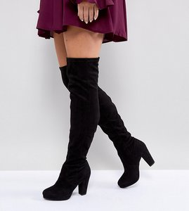 Read more about New look wide fit heeled suedette over the knee boot - black