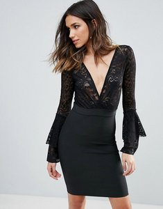 Read more about Wow couture plunge wrap front lace top bandage bodycon dress - black