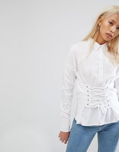 Read more about Noisy may shirt with corset lace up - white