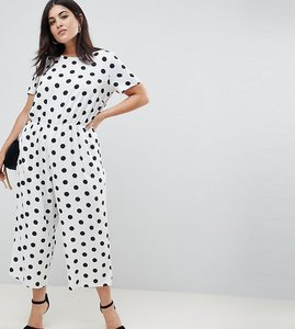 Read more about Asos design curve spot print jumpsuit with short sleeve - spot