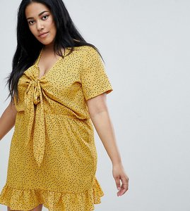 Read more about Glamorous curve mini tea dress with tie front in ditsy spot - yellow spot