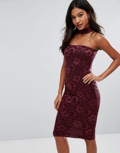 Read more about Ax paris choker neck midi lace dress - wine