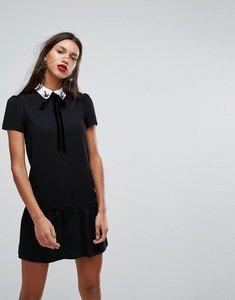 Read more about Mango embellished collar mini dress - black