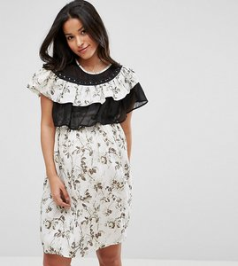 9e5f9b48217 Read more about Asos maternity floral mini dress with ruffles and hook and  eye trim -