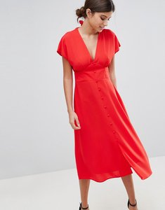 Read more about Asos button through midi dress with bow back detail - red orange