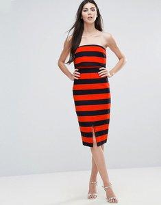 Read more about Lavish alice striped midi dress - orange navy