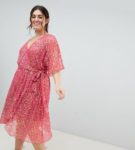Read more about Asos design curve kimono sequin wrap dress - pink