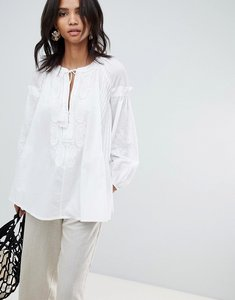 Read more about French connection embroidered smock blouse - summer white