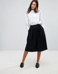 Read more about Ymc wool blend pleated midi skirt - black
