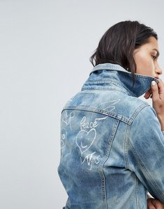 Read more about Vivienne westwood anglomania denim jacket with war peace logo - blue denim