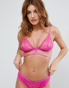 Read more about Asos logan eyelash lace strappy triangle bra - hot pink