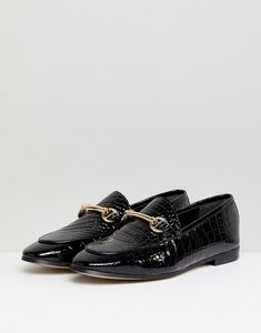 Read more about Dune london guilt leather black croc loafer shoes with snaffle trim - black croc leather