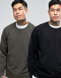 Read more about Asos sweatshirt 2 pack black khaki save - khaki black