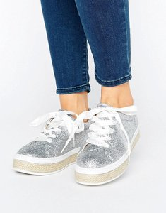Read more about Truffle collection espadrille lace up trainer - silver glitter