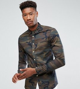 Read more about Asos tall skinny fit camo shirt - brown