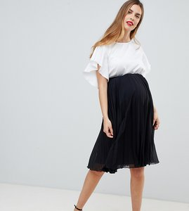 Read more about Asos design maternity pleated midi skirt - black