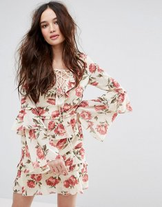 Read more about Missguided floral skater dress with flute sleeve - multi