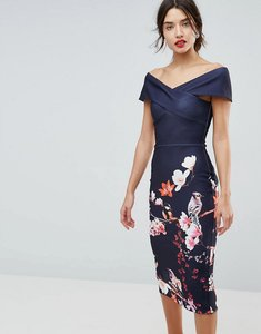 Read more about True violet cross over bodycon dress in floral border print - navyfloral