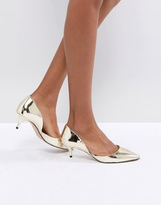 Read more about Aldo adylia kitten heel pointed shoe in gold - gold