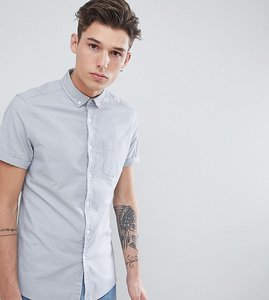 Read more about Asos design tall casual slim oxford in grey - grey