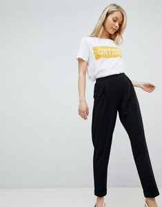 Read more about Miss selfridge turn up tapered trousers - black