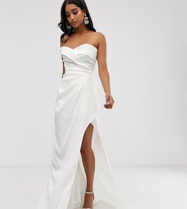 Read more about Yaura bardot maxi dress with thigh split in white