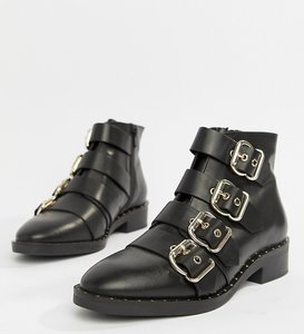 Read more about Asos design avid leather studded ankle boots - black leather