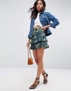 Read more about Asos mini skirt with rara hem in print - printed