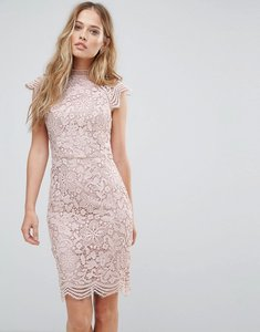 Read more about Chi chi london scallop lace pencil dress - mink