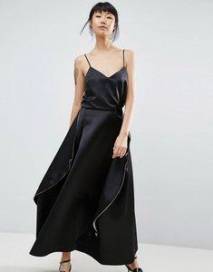 Read more about Asos white satin paneled maxi skirt - black